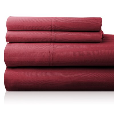 Valentino 4 Piece 1200 Thread Count Egyptian Quality Cotton Sheet Set Color: Wine, Size: King