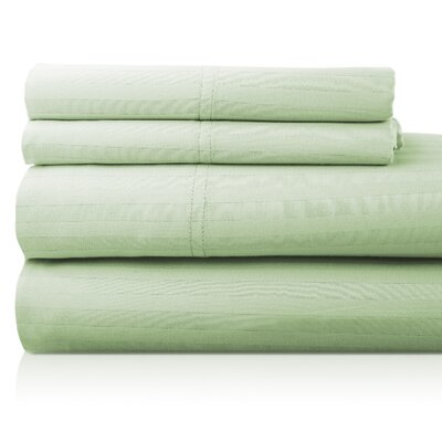 Valentino 4 Piece 1200 Thread Count Egyptian Quality Cotton Sheet Set Size: California King, Color: Sage
