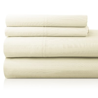 Valentino 4 Piece 1200 Thread Count Egyptian Quality Cotton Sheet Set Size: King, Color: Ivory