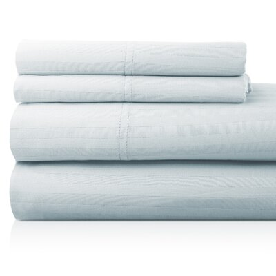Valentino 4 Piece 1200 Thread Count Egyptian Quality Cotton Sheet Set Size: King, Color: Sky
