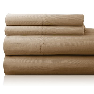 Valentino 4 Piece 1200 Thread Count Egyptian Quality Cotton Sheet Set Size: King, Color: Taupe