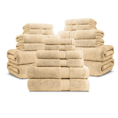 Bliss Egyptian Quality Cotton Luxury 18 Piece Towel Set Color: Gold