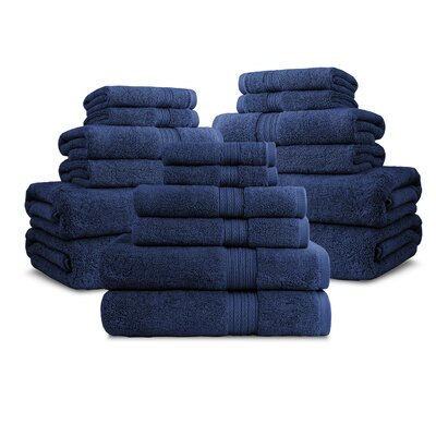 Bliss Egyptian Quality Cotton Luxury 18 Piece Towel Set Color: Navy