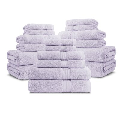 Bliss Egyptian Quality Cotton Luxury 18 Piece Towel Set Color: Wisteria