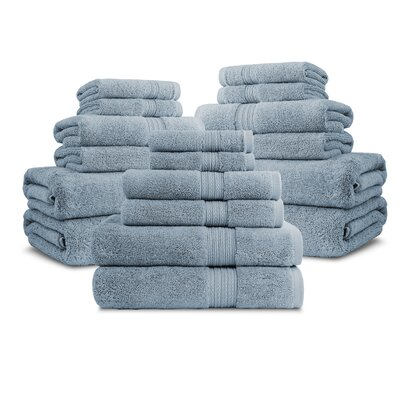 Bliss Egyptian Quality Cotton Luxury 18 Piece Towel Set Color: Smoke Blue