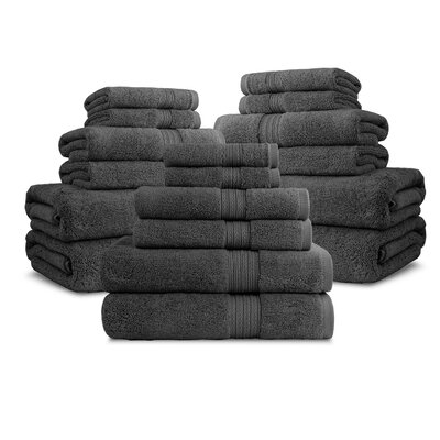 Bliss Egyptian Quality Cotton Luxury 18 Piece Towel Set Color: Charcoal