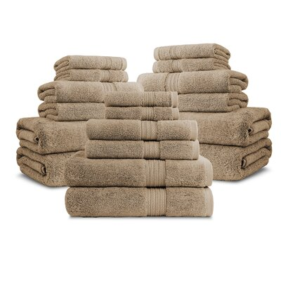 Bliss Egyptian Quality Cotton Luxury 18 Piece Towel Set Color: Linen
