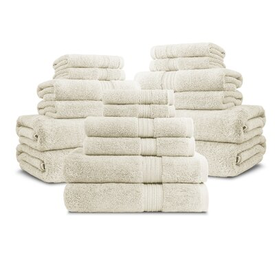 Bliss Egyptian Quality Cotton Luxury 18 Piece Towel Set Color: Ivory