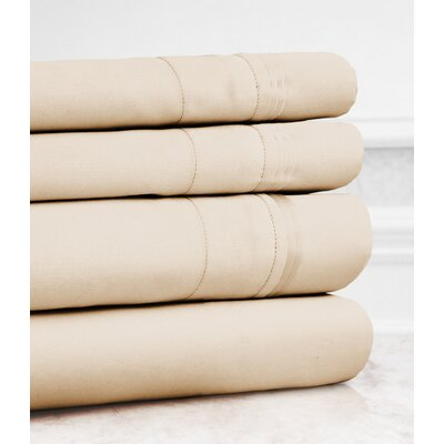 Valentino 4 Piece 1200 Thread Count Egyptian Quality Cotton Sheet Set Size: King, Color: Beige
