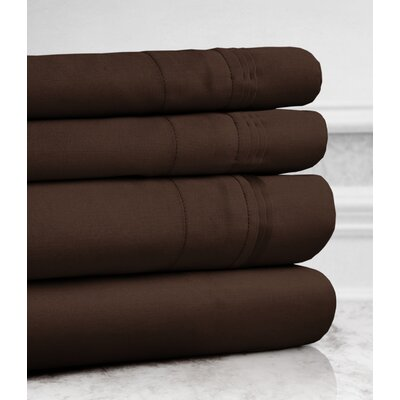 Valentino 4 Piece 1200 Thread Count Egyptian Quality Cotton Sheet Set Size: Queen, Color: Chocolate