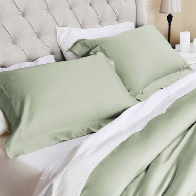 Valentino 3 Piece Duvet Set Color: Sage, Size: King/California King