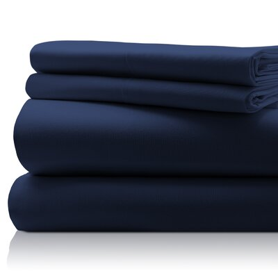 SanT Agnello Hotel 4 Piece Egyptian Quality Cotton Sheet Set Color: Navy, Size: Queen