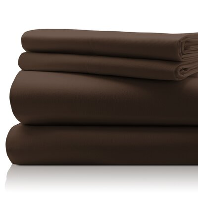 SanT Agnello Hotel 4 Piece Egyptian Quality Cotton Sheet Set Color: Mocha, Size: Queen