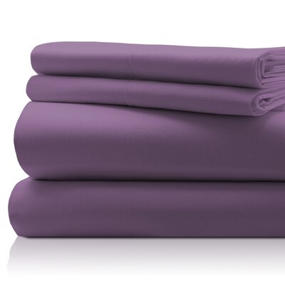SanT Agnello Hotel 4 Piece Egyptian Quality Cotton Sheet Set Color: Plum, Size: King