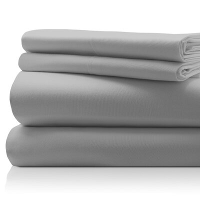 SanT Agnello Hotel 4 Piece Egyptian Quality Cotton Sheet Set Color: Gray, Size: Queen