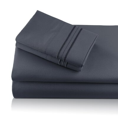 Alger Embroidered Microfiber Luxe Sheet Set Color: Charcoal, Size: King
