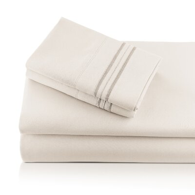 Alger Embroidered Microfiber Luxe Sheet Set Color: Ivory, Size: Queen