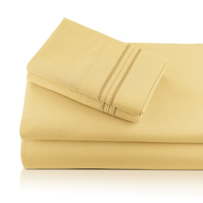 Alger Embroidered Microfiber Luxe Sheet Set Color: Gold, Size: Queen