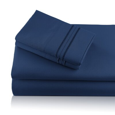 Alger Embroidered Microfiber Luxe Sheet Set Color: Navy, Size: Queen