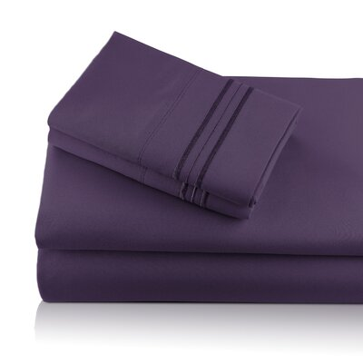 Alger Embroidered Microfiber Luxe Sheet Set Color: Plum, Size: Queen