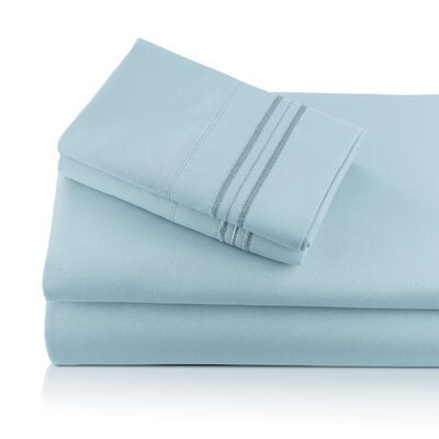 Alger Embroidered Microfiber Luxe Sheet Set Color: Sky, Size: Queen