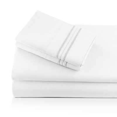 Alger Embroidered Microfiber Luxe Sheet Set Color: White, Size: Twin
