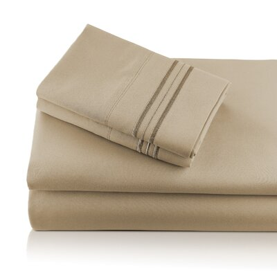Alger Embroidered Microfiber Luxe Sheet Set Color: Taupe, Size: Queen