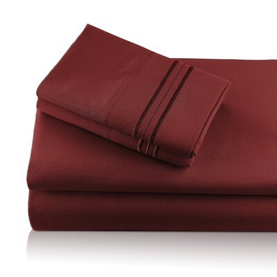 Alger Embroidered Microfiber Luxe Sheet Set Color: Wine, Size: Queen