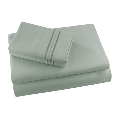 Alger Embroidered Microfiber Luxe Sheet Set Color: Sage, Size: Queen