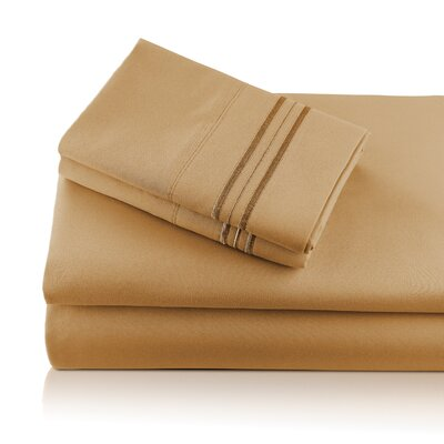 Alger Embroidered Microfiber Luxe Sheet Set Color: Caramel, Size: California King