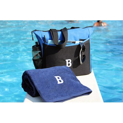 Luxor Linens Bora Bora Resort 3 Piece Beach Towel Set - Monogram Letter: W, Color: Black Bag & White Towel at Sears.com