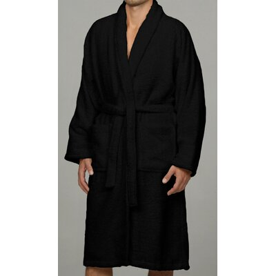 Salerno 100% Egyptian Quality Cotton Luxury Bath Robe Size: Medium, Color: Black