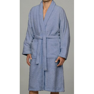 Salerno 100% Egyptian Quality Cotton Luxury Bath Robe Size: Large, Color: Blue
