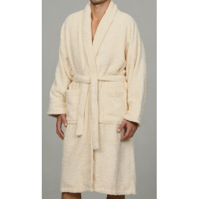 Salerno 100% Egyptian Quality Cotton Luxury Bath Robe Size: Medium, Color: Ivory
