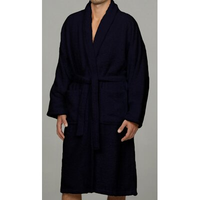 Salerno 100% Egyptian Quality Cotton Luxury Bath Robe Size: Large, Color: Navy