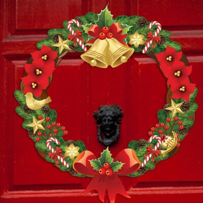 Peel and Play Holiday Christmas Wreath Wall Decal