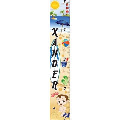 Mona Melisa Designs Personalized Beach Boy Growth Chart - Skin Shade: Light, Hair Color: Brown, Eye Color: Hazel