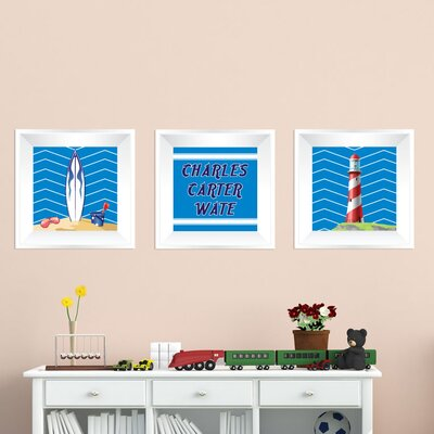 Beach 3 Piece Picture Frame Wall Decal