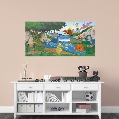 Dinosaur Boy Hanging Wall Mural Eye Color: Brown, Hair Color: Blonde, Skin Shade: Light