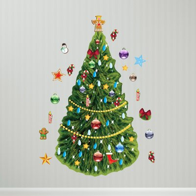 Winter Holidays Christmas Tree Wall Decal Set