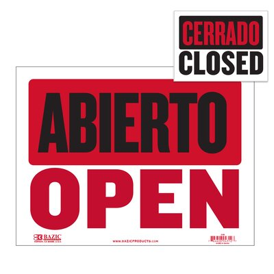Abierto Sign with Cerrado Sign on Back