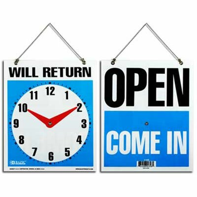 WILL RETURN Clock Sign Quantity: Case of 24