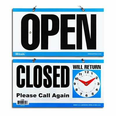CLOSED Clock Sign Quantity: Case of 24