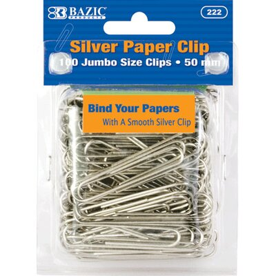 Jumbo (50mm) Silver Paper Clip Set Quantity: Case of 72