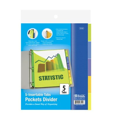 3-Ring Binder Pockets Dividers Quantity: Case of 144