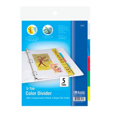3-Ring Binder Divider with 5-Insertable Color Tabs Quantity: Case of 24