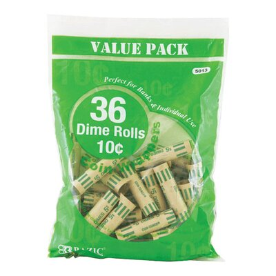 36 Ct. Coin Wrappers Denomination: Dime
