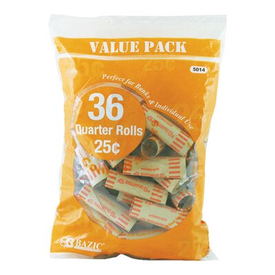 36 Ct. Coin Wrappers Denomination: Quarter