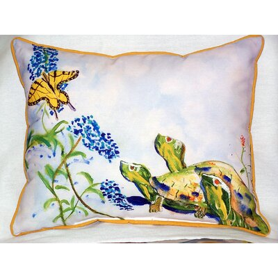 Turtles and Butterfly Outdoor Lumbar Pillow