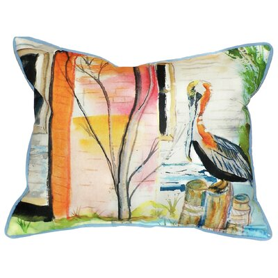 Coastal Pelican Indoor/Outdoor Throw Pillow